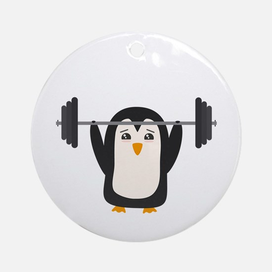 Penguin Weightlifting Round Ornament