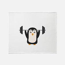 Penguin Weightlifting Throw Blanket