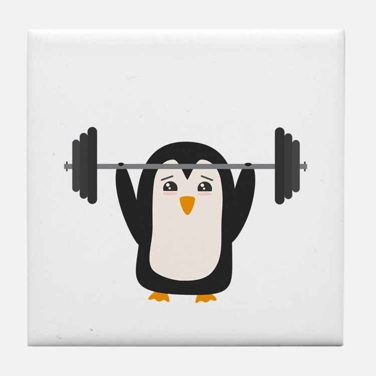 Penguin Weightlifting Tile Coaster