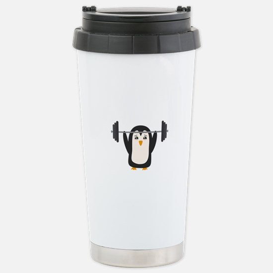 Penguin Weightlifting Stainless Steel Travel Mug