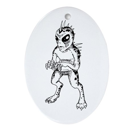 Chupacabra Sketch Oval Ornament