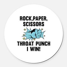 Throat Punch I Win Round Car Magnet