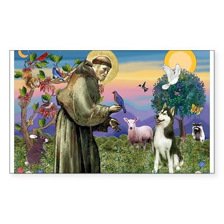 St Francis & Husky 1 Rectangle Sticker
