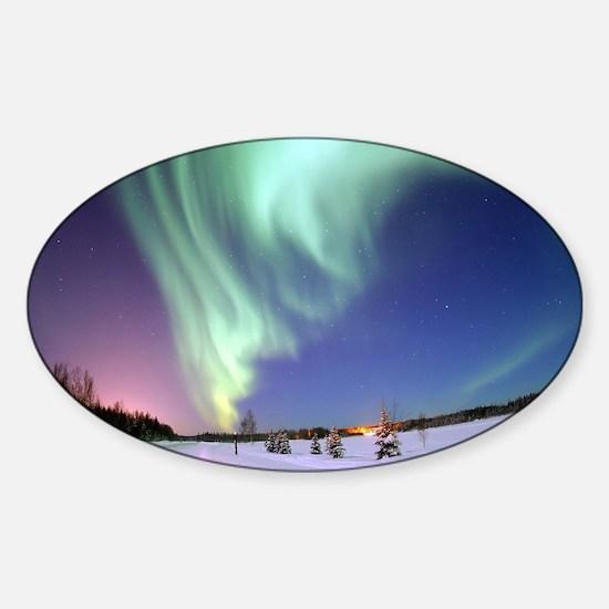 Unique Aurora borealis Sticker (Oval)