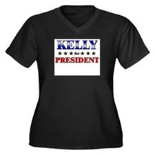 KELLY for president Women's Plus Size V-Neck Dark