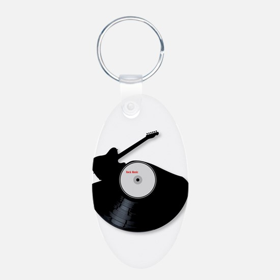 Rock Music Silhouette Record Keychains