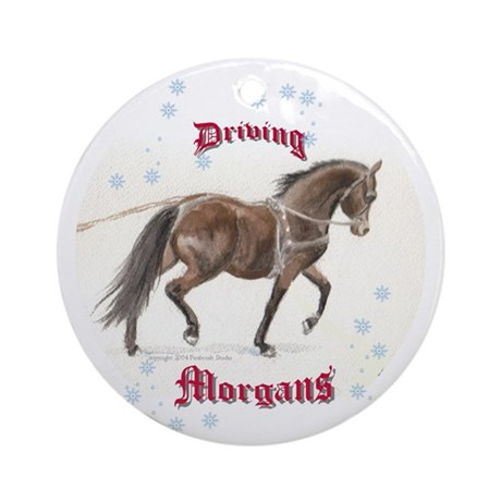 """Driving Morgans"" Ornament (Round)"