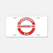 Groundhog Day Stamp Aluminum License Plate