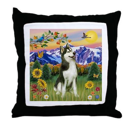 Mt Country & Husky Throw Pillow