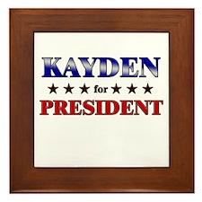 KAYDEN for president Framed Tile