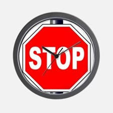 Octagon Stop Sign Wall Clock