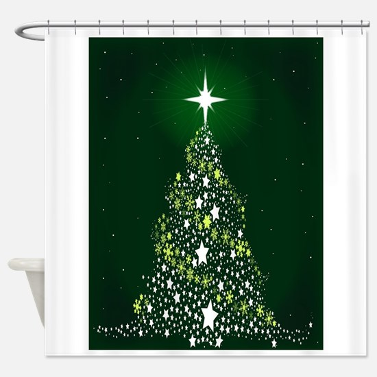 Star Spangled Christmas Tree Shower Curtain