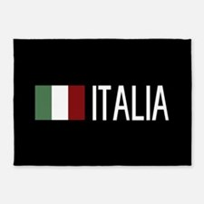 Italy: Italia & Italian Flag 5'x7'Area Rug