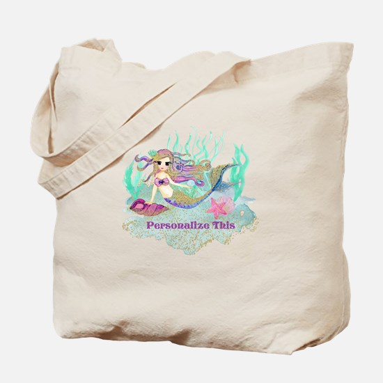 Cute Personalized Mermaid Tote Bag