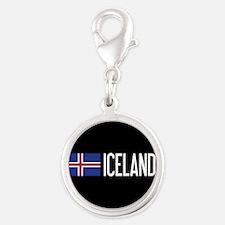 Iceland: Icelandic Flag & Icel Silver Round Charm