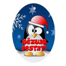 Gezuar Festat Penguin Oval Ornament