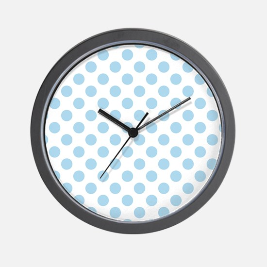 Light Blue Polka Dots Wall Clock