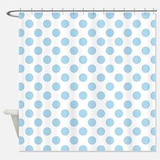 Light Blue Polka Dots Shower Curtain