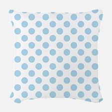 Light Blue Polka Dots Woven Throw Pillow