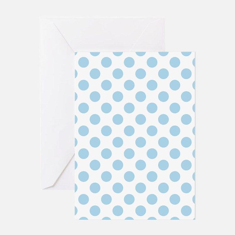Light Blue Polka Dots Greeting Cards
