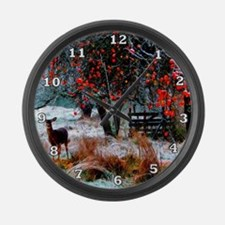 Deer in Orchard Large Wall Clock