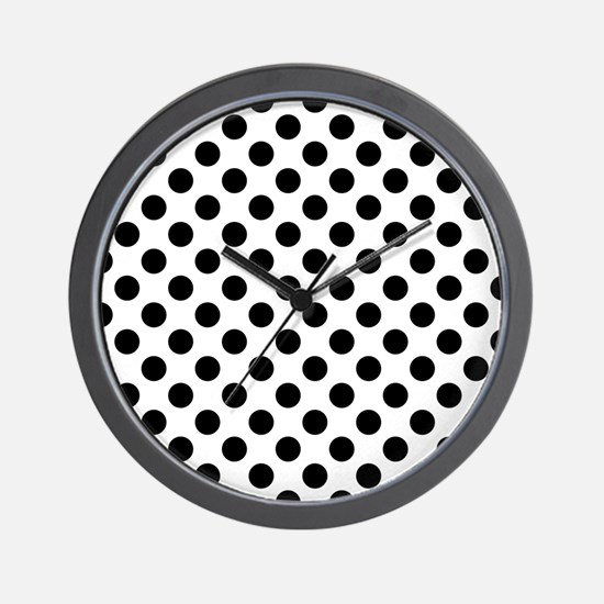 Black Polka Dot Print Pattern Wall Clock