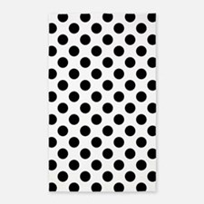 Black Polka Dot Print Pattern Area Rug