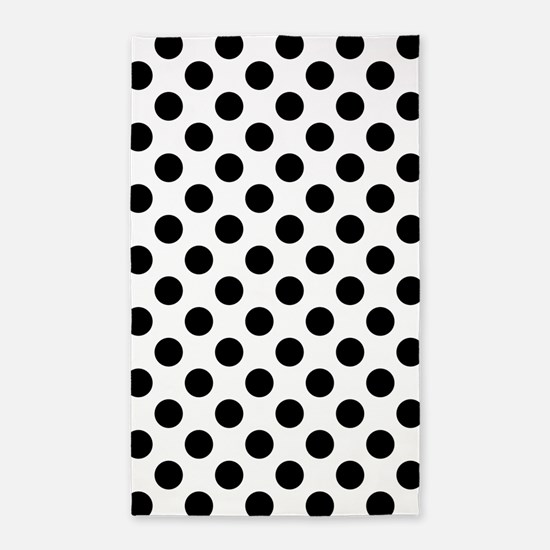 Black Polka Dot Print Pattern Area Rug