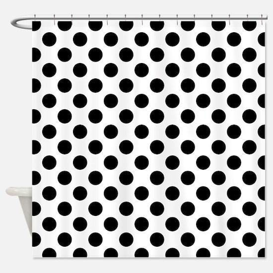 Black Polka Dot Print Pattern Shower Curtain