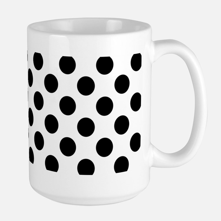 Black Polka Dot Print Pattern Mugs