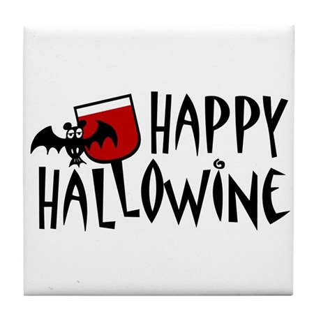 Happy Hallowine Tile Coaster