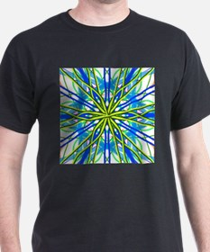 Mandala On White With Yellow And Blue T-Shirt