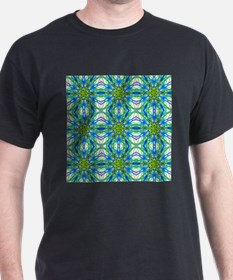 Mandala On White With Yellow And Blue - Ti T-Shirt