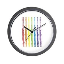 Flutes 7 Rainbow Wall Clock