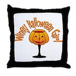 Winey Halloween Girl Throw Pillow
