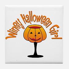 Winey Halloween Girl Tile Coaster