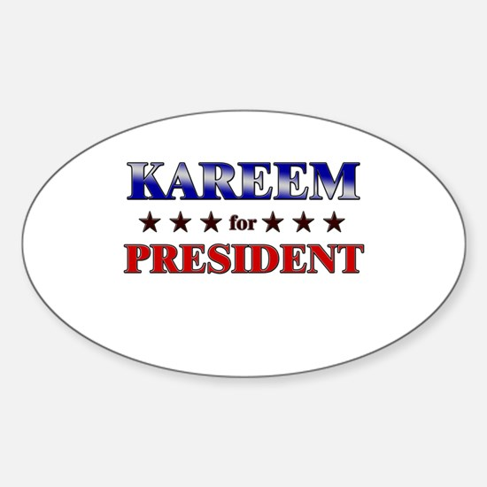 KAREEM for president Oval Decal