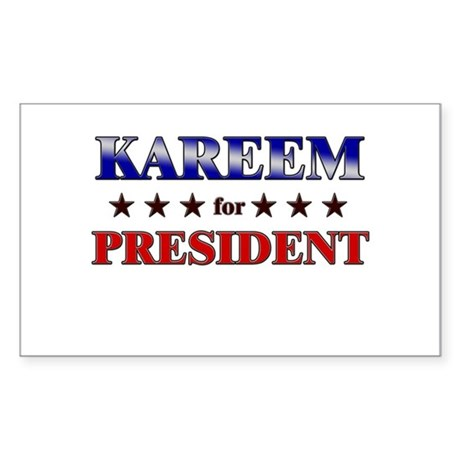 KAREEM for president Rectangle Sticker