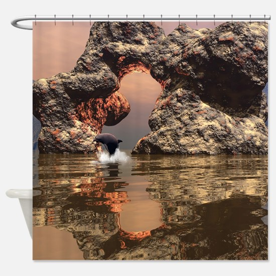 Dolphin in the sunset Shower Curtain