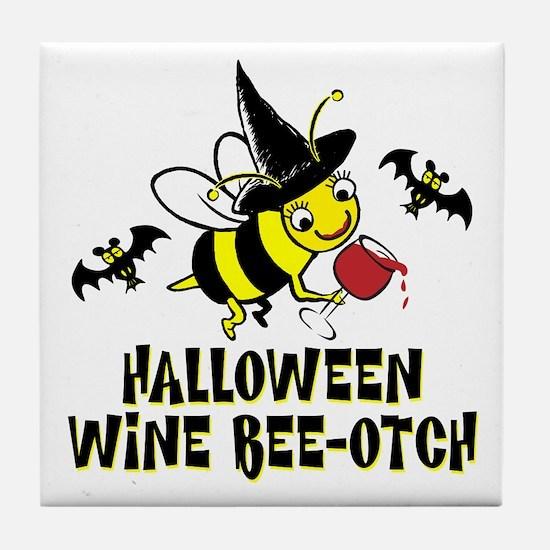 Halloween Wine Bee-Otch Tile Coaster