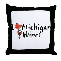 I Love Michigan Wines Throw Pillow