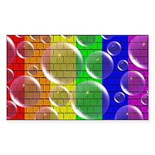 RAINBOW PRIDE WALL/BUBBLES/BR Sticker (Rectangular