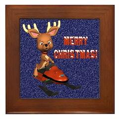 Christmas Snowmobiling Framed Tile