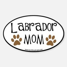 Labrador Mom Oval (black border) Oval Decal