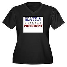 KAILA for president Women's Plus Size V-Neck Dark