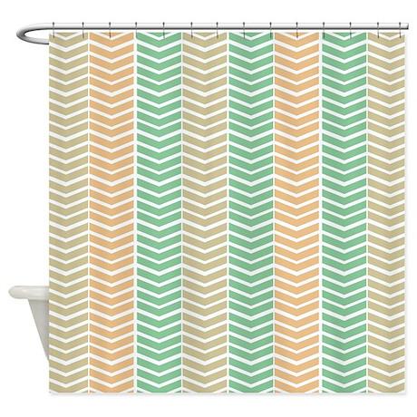 Soft Neutral Herringbone Shower Curtain By Stripstrapstriped