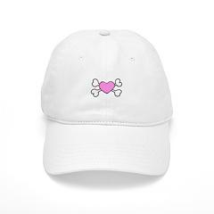 Pink Heart & Crossbones Design Baseball Cap