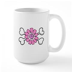 Pink Flower Crossbones Design Large Mug