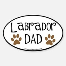 Labrador Dad Oval (black border) Oval Decal