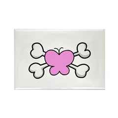 Cute Butterfly & Crossbones Design Rectangle Magne